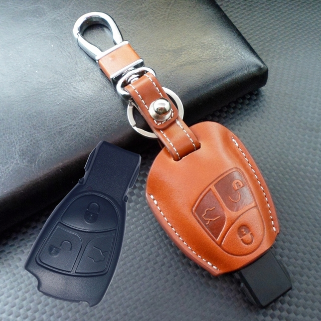 Fob remote leather key bag case cover for mercedes benz a for Mercedes benz key holder
