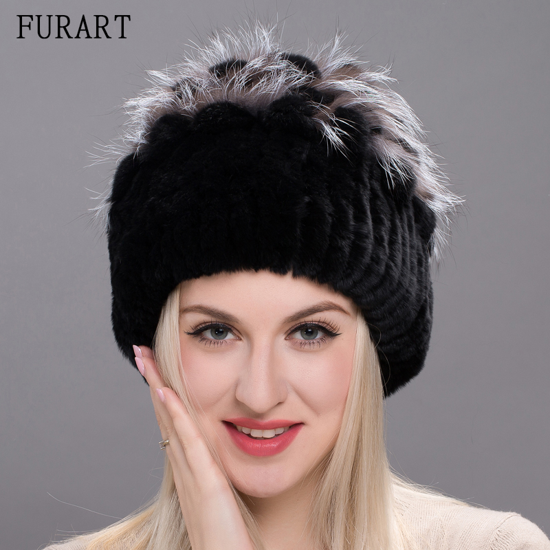 Real Rex rabbit Fur Hat Women Fur Winter Hats With Ball Knitted Fur Hat With Sliver Fox Fur Pom pom Skullies & Beanie DHY17-05A adult beanie skullies rabbit fur ball shining warm knitted hat autumn winter hats for women