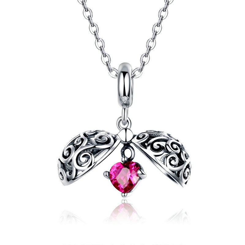 Sterling Silver 925 European Charm Butterfly Dangle with Pink CZ Stones Bead