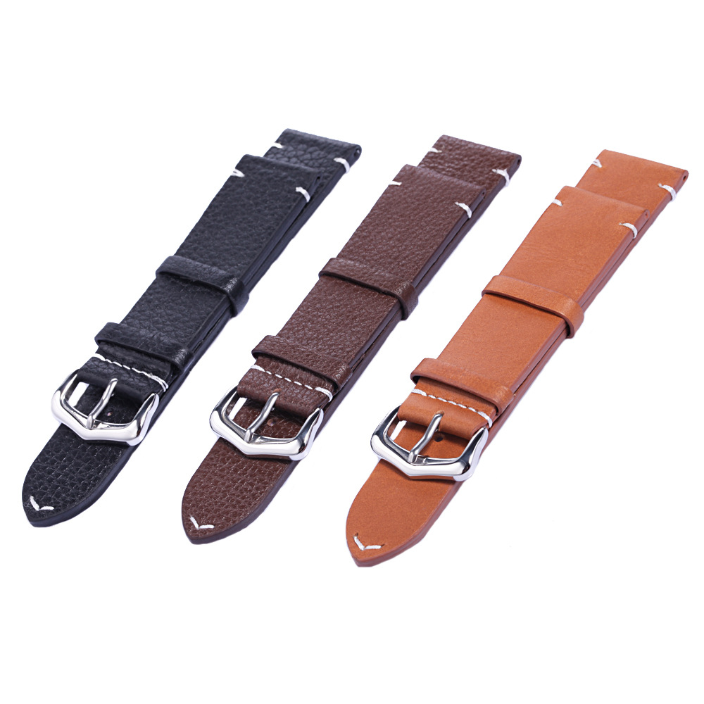 Genuine Leather watch band with pin buckle Watchband 20mm 22mm Watch Strap Bracelets Promotion d 32 fashion purple red fish skin leather watch strap 24 22mm watchband with buckle