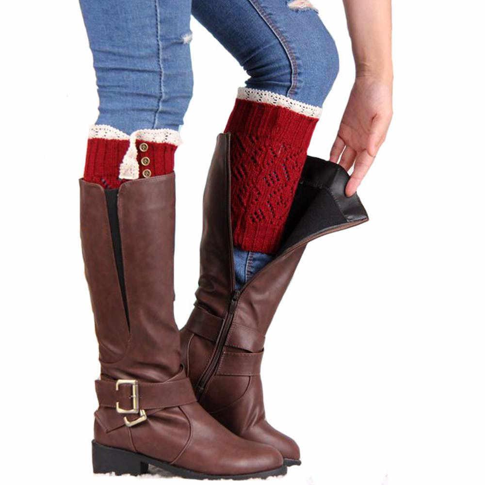 & 30 Wanita Leg Warmers Tebal Hangat Rajutan Hangat Kaki Kaus Kaki Boot Cover Stripe untuk Wanita Renda Peregangan Kaki Boot manset Boot Kaus Kaki