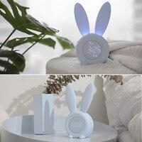 Cute Bunny Ear LED Digital Alarm Clock Electronic USB Sound Control Rabbit Night Lamp Desk Clock Home Decoration