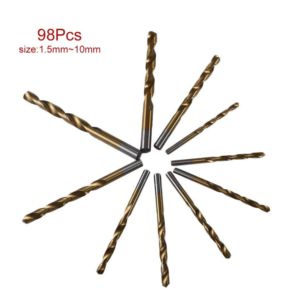 98PCS/Set 1.5-10mm High Speed Steel Titanium Coated Cobalt HSS-Co Steel Twist Drill Bit Set Power Tools Wood Metal Drilling 13pcs set hss high speed steel twist drill bit for metal titanium coated drill 1 4 hex shank 1 5 6 5mm power tools accessories