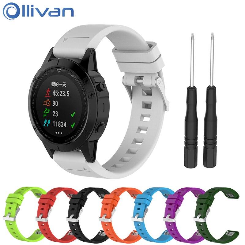 Ollivan 22mm Width Replacement Silicone Strap For Garmin Fenix5 Quick Release Wrist Band Watchband For Forerunner935/Quatix5