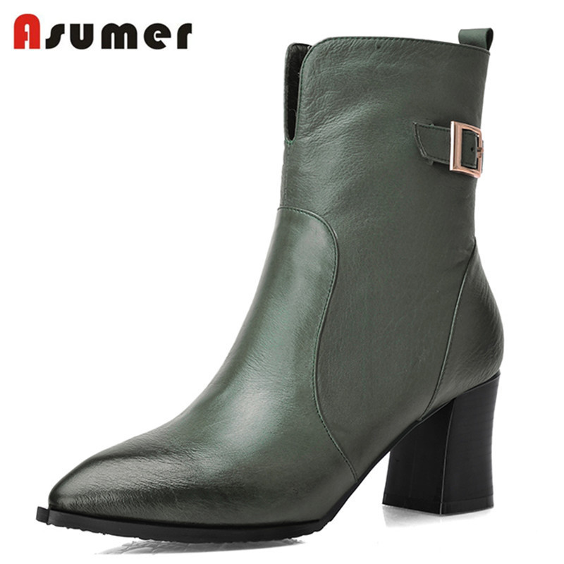 Asumer 2017 fashion ankle boots genuine leather high quality  pointed toe black green buckle high heels popular boots for women autumn winter high quality new genuine leather wedges high heels ankle boots elegant fashion pointed toe buckle women boots