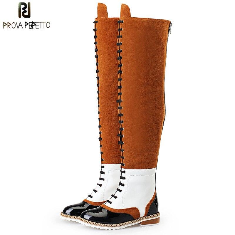 Prova Perfetto 2018 Ретро Сапоги выше колена Для женщин из натуральной кожи Замшевые высокие сапоги цепи с перекрестной шнуровкой ботинки в стиле Ма...