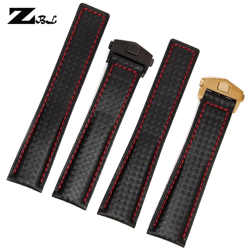 탄소 섬유 시계 줄 바닥은 가죽 빨간색 스티치 19mm 20mm 22mm 검은 시계 액세서리 팔찌 시계 스트랩 밴드입니다