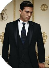 Custom Made Mens Suits Groomsmen Notch Lapel Groom Tuxedos Two Buttons Wedding Best Man Suit (Jacket+Pants+Tie+Vest) A24