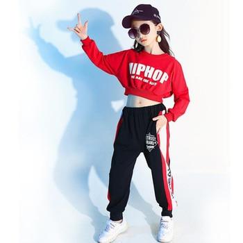 Kids Red Long Sleeve Hip Hop Clothing Clothes Jazz Dance Costume for Girls Crop Sweatshirt Shirt Top Ballroom Dancing Stage wear