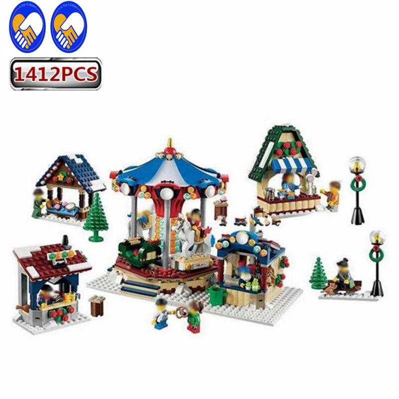 A Toy A Dream Lepin 36010 1412PCS Creator Winter Village Market Educational Building Blocks Bricks Toys for Children Christmas цены онлайн