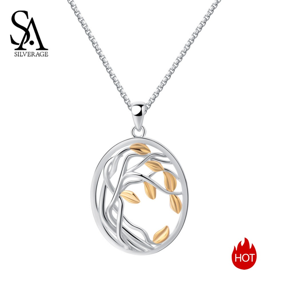 SA SILVERAGE New 925 Sterling Silver Gold Color Silver Long Maxi Chain Necklace Chokers Tree Of Life Pendant Necklaces For Women