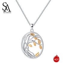 SA SILVERAGE New 925 Sterling Silver Gold Color Long Maxi Chain Necklace Chokers Tree of Life Pendant Necklaces for Women
