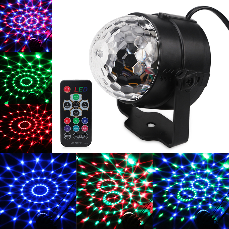 Remote Control 3W RGB Party Stage Light Music Sound Activated Rotating Magic Ball Projector Dancing Disco Lights for DJ KTV Bar mini rgb 3w crystal magic ball led stage lamp dj ktv disco laser light party lights sound ir remote control christmas projector