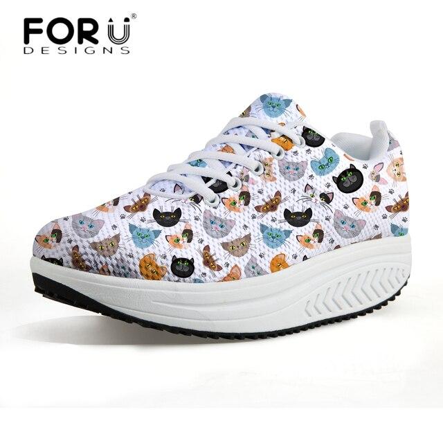 FORUDESIGNS 3D Kawaii Animal Chat Imprimé Femmes Casual Hauteur Croissante  Chaussures Appartements de Femmes Automne Sneaker