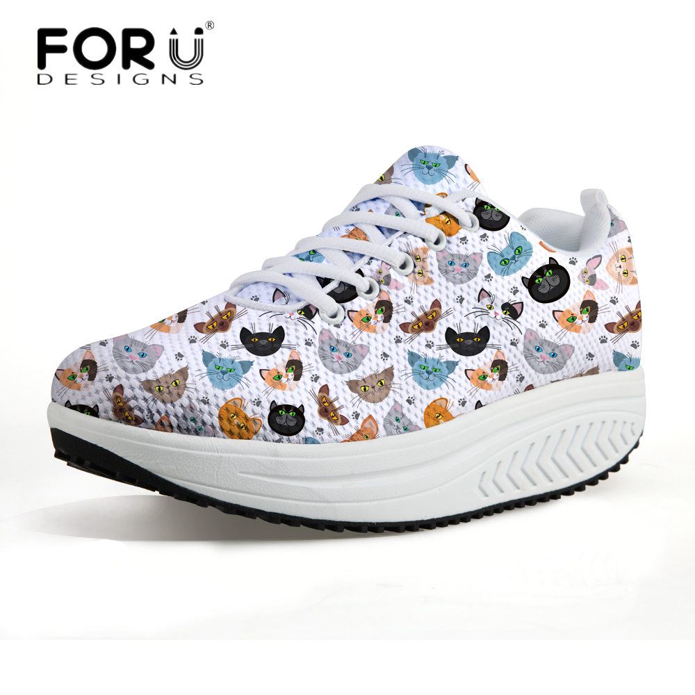 FORUDESIGNS 3D Kawaii Pet Cat Printed Women Casual Height Increasing Shoes Flats Women's Autumn Sneaker Female Swing Shoes forudesigns women casual wedge platform shoes 3d animal rabbit printed height increasing shoes shape ups for female swing shoes