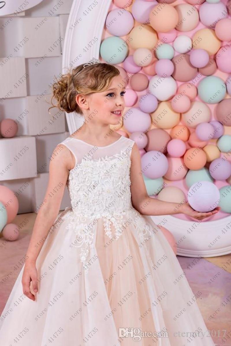 tulle   flower     girl     dresses   for weddings lace vestido primera comunion 2-14 ivory lace   flower     girl     dress
