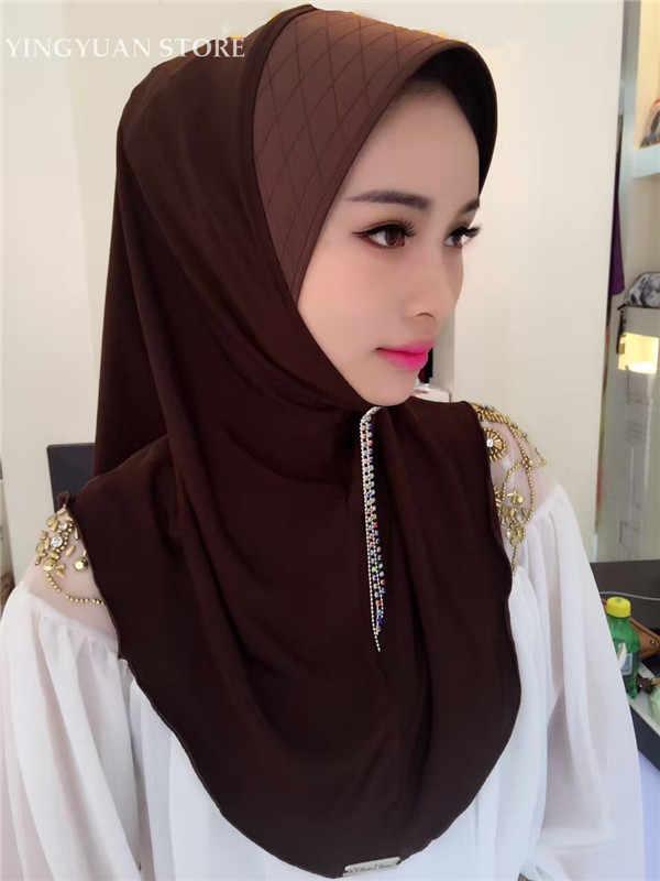 TJ56-66 Gaya Baru Pakaian Mudah Muslim Jilbab Wanita Syal Wanita Syal Fashion Klasik Kenyamanan Cshawls Sciarpa (Tidak Ada Bros)