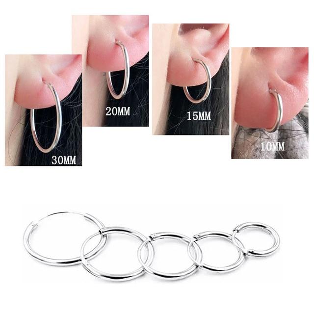 cff59b31e 2PCS/Pair Real 925 Sterling Silver Earrings for Women Men Girls Boys Plain  Thin Loop