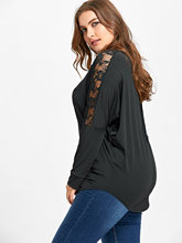 Women Tunic Tops Large Size Lace Insert Sheer T-Shirt Spring Female Casual Round Neck Long Sleeve Tee Plus Size XL-5XL
