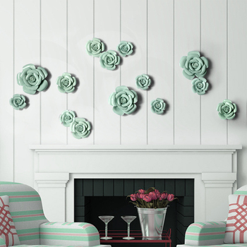 Rustic ceramic flower three-dimensional wall hangings muons tv wall decoration