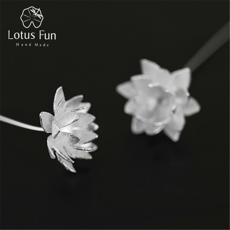 Lotus Fun Real 925 Sterling Silver Natural Original Handmade Fine Jewelry Lotus Flower Fashion Dangle Earrings for Women Brincos lotus fun real 925 sterling silver handmade fine jewelry natural crystal lily of the valley flower brooches for women brincos