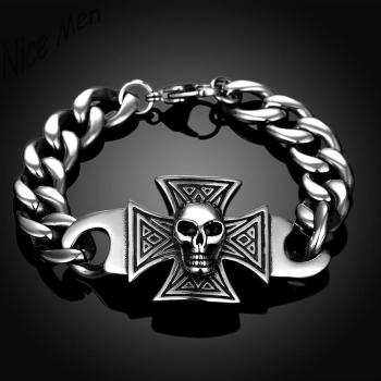 Skull man bangels retro wearing H031 Fashion 316L stainless steel bracelet for man