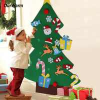 OurWarm Kids DIY Felt Christmas Tree with Ornaments Children New Year Gifts for Christmas 2018 Door Wall Hanging Decoration