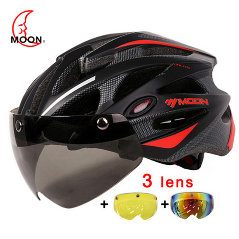 MOON Cycling Helmet With Magnetic Goggles MTB Road Mountain Bicycle Riding Helmet In mold Lens Bike