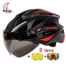 MOON Cycling Helmet With Magnetic Goggles MTB Road Mountain Bicycle Riding In-mold Lens Bike Protective