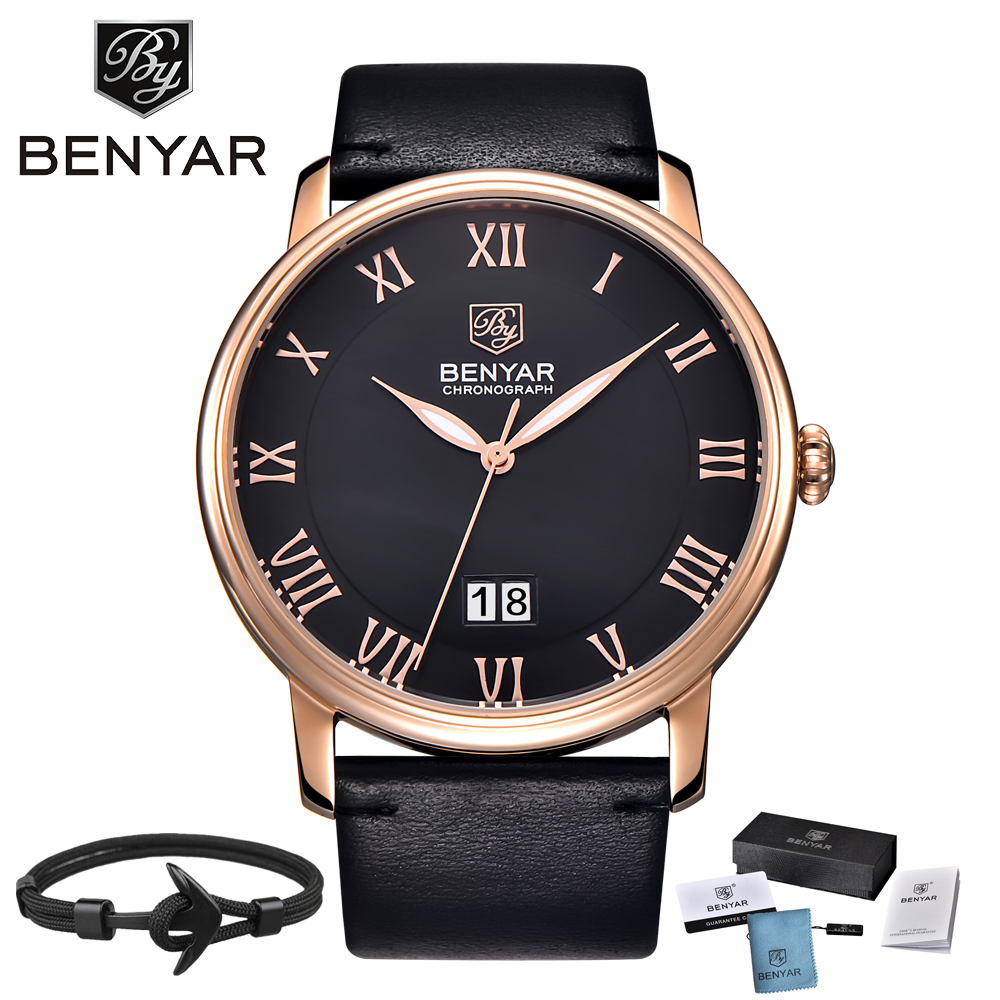 2018 BENYAR Mens Business Watches Brand Luxury Calendar Roman Numerals Leather Fashion Casual Quartz Watch Relogio Masculino все цены