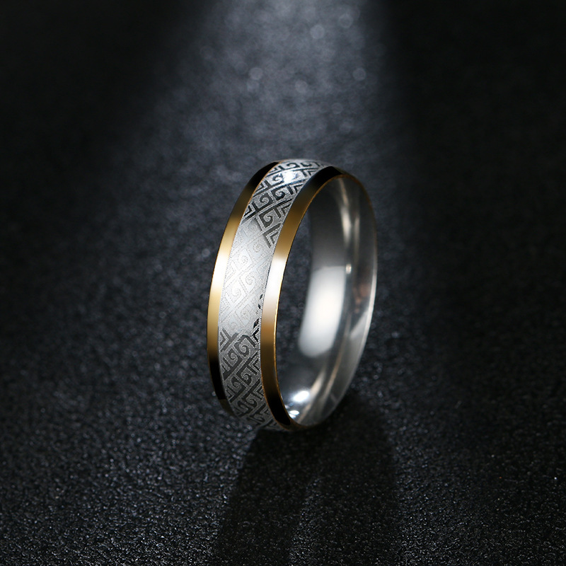 YANGQI 6mm Stainless Steel Geometric Floral Wedding Engagement Ring for Men Party Jewelry Gifts for Male Fashion Wedding Band
