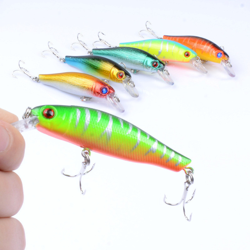 1Pcs 5cm/8.9g Striped Minnow Bionic Fishing Lure Baits Artificial Wobblers Hard Fishing Bait With 2 Treble Hooks For River Sea