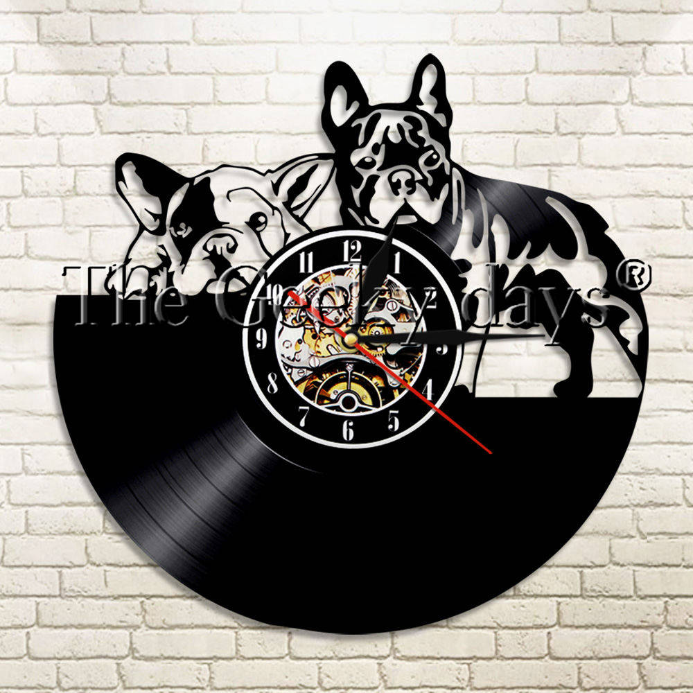 1Piece French Bulldog Dog Vinyl Record Wall Clock Modern Design Animal Puppy Home Decor Wall Watch Time Clock Pet Dog Lover Gift