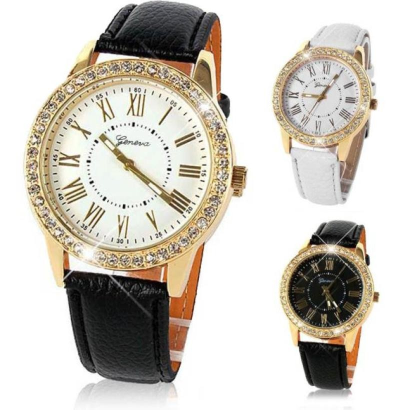 цена Top Quality Bling Gold Crystal Womens Luxury Leather Strap Quartz Wrist Watch Orologio reloj mujer Horloges Uhren Damen xfcs
