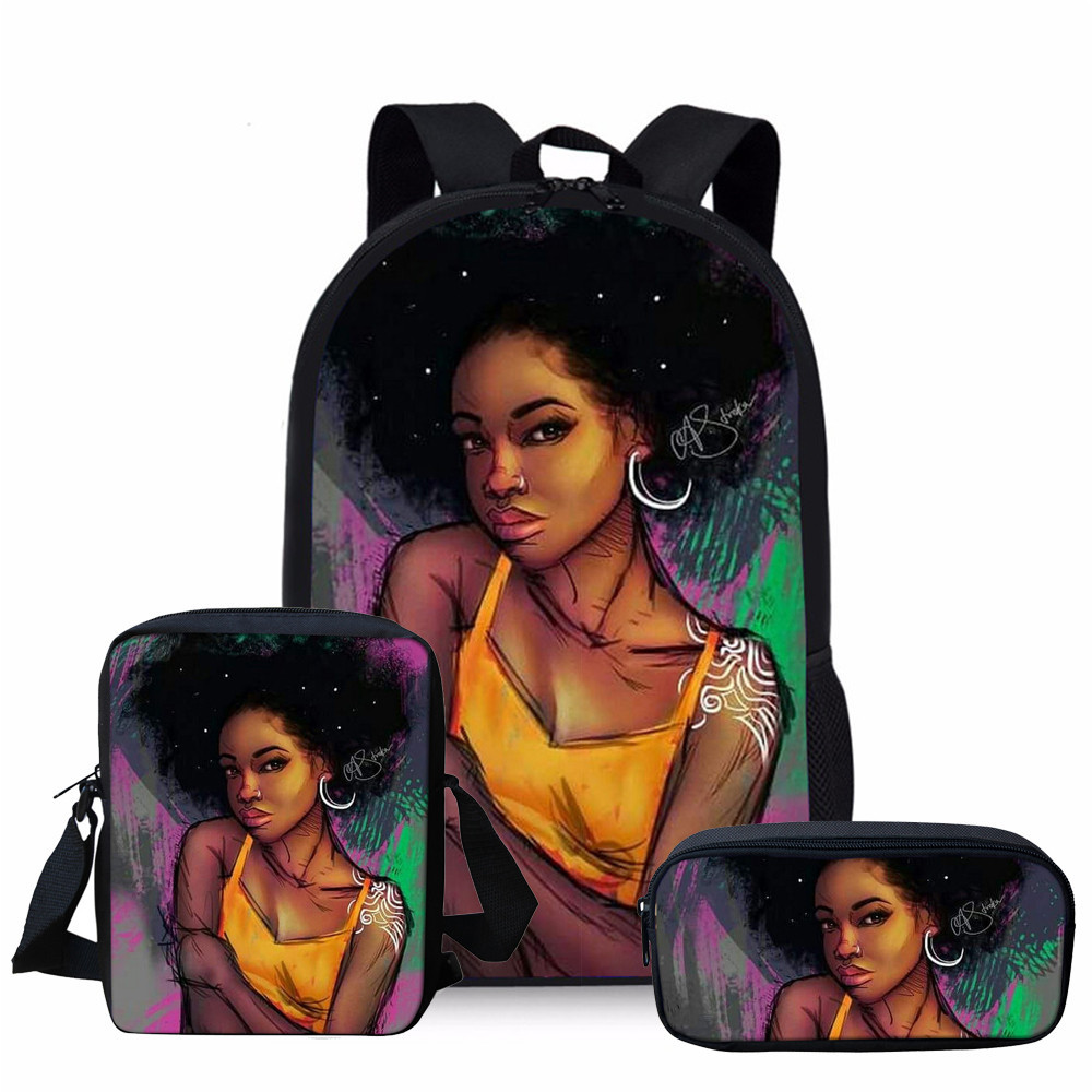 Thikin 3 PCS SET African American Girls School Bags for Girls Bag Cartoon Book Bag Children Backpack Custom Mochila Backpack in School Bags from Luggage Bags