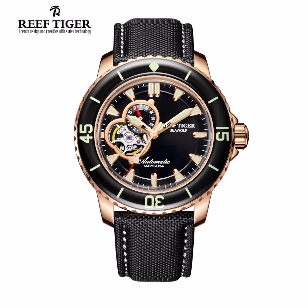 Reef Tiger/RT Sport Automatic Watches for Men Rose Gold-Tone Super Luminous Dive Watch RGA3039 2x yongnuo yn600ex rt yn e3 rt master flash speedlite for canon rt radio trigger system st e3 rt 600ex rt 5d3 7d 6d 70d 60d 5d