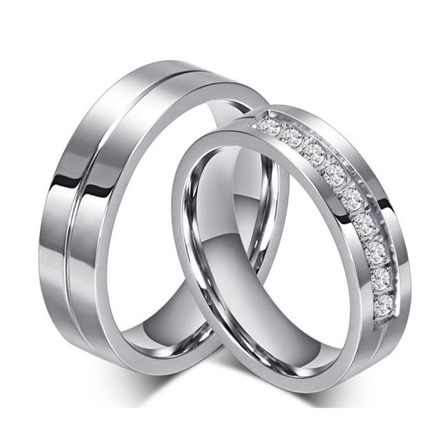 1pc Fashion Argent Hommes Femmes Amant Couple Anneau Mariage Bande personnalisé ID Nom