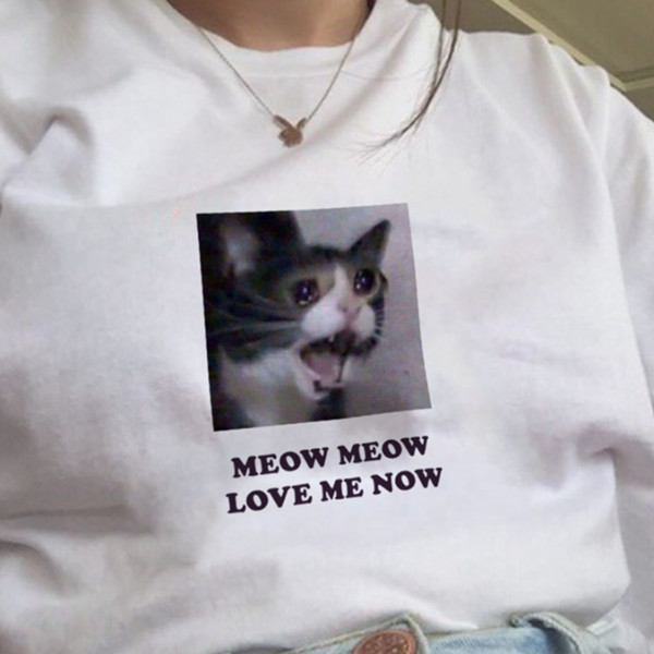 WVIOCE Hot Sales Cute Cat Printed Tshirt Cartoon Women T-Shirt Harajuku Korean Style Short Sleeves Clothes Summer Tops Tees