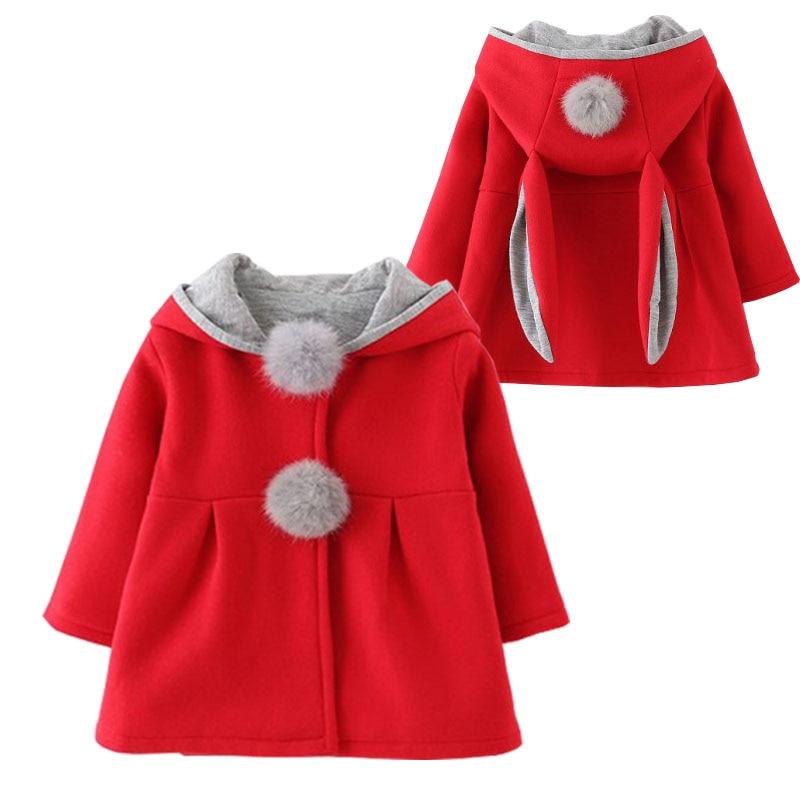 2019 mode Volle Förderung Frühling Und Herbst Winter Neue Kinder Baumwolle Hasenohren Kinderkleidung Warmer Mantel Jacke Mädchen