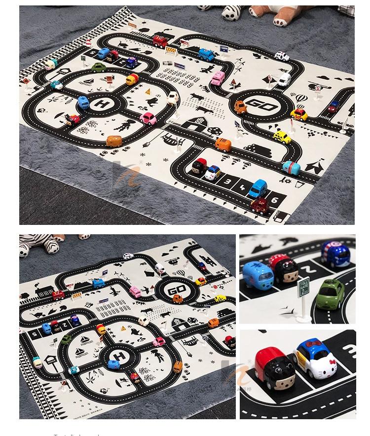 HTB13CfhXN2rK1RkSnhJq6ykdpXap North European Style Kid Car City Scene Traffic Highway Map Play Mat Educational Toy For Children Toddler Climb Game Road Carpet
