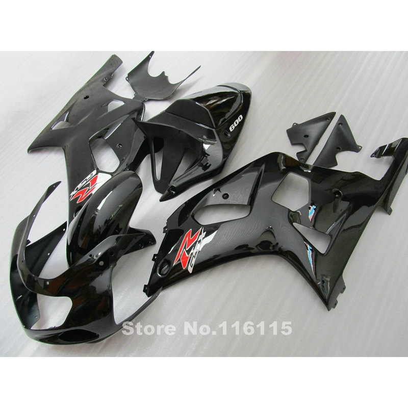Plastic Fairing kit fit for SUZUKI GSXR600 GSXR750 K1 2001-2003 all glossy black fairings set GSXR 600 750 01 02 03  QB26 lowest price fairing kit for suzuki gsxr 600 750 k4 2004 2005 blue black fairings set gsxr600 gsxr750 04 05 eg12