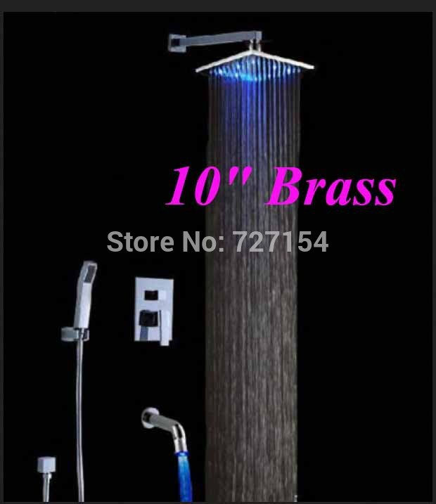 LED Color Changing 10 Chrome Brass Rainfall Shower Faucet Single Handle Tub Tap