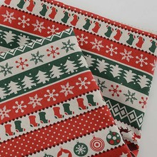 145*50CM,Christmas Tree Zakka Cotton Linen Fabric Patchwork Fabric for Baby DIY Accessory Curtain,Pillow Bag Sewing Craft