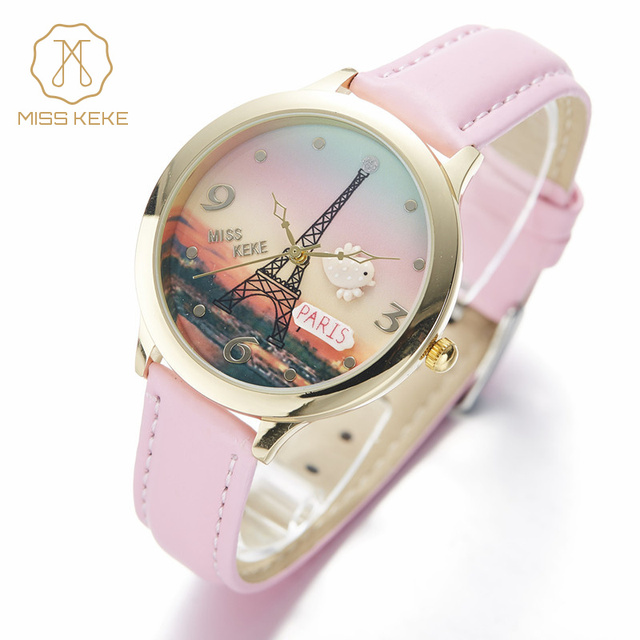 Miss Keke Fashion Kids Cartoon Watch 3D Clay Bird Eiffel Tower Quartz Gold Watches Pink Leather Girls Waterproof Wristwatch 823