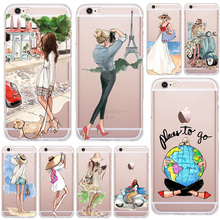 A Girl Summer Outing Travel Transparent Soft Silicone TPU Case Cover For Apple iPhone 5 5S