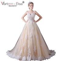 VARBOO ELSA Elegant Champagne Wedding Dresses Spaghetti Straps Sweetheart Bridal Gown 2017 Tulle Wedding Dress Long
