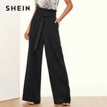 SHEIN Paper-Bag Belted Wide Leg Pants Women Elegant OL Work 2019 Loose High Waist