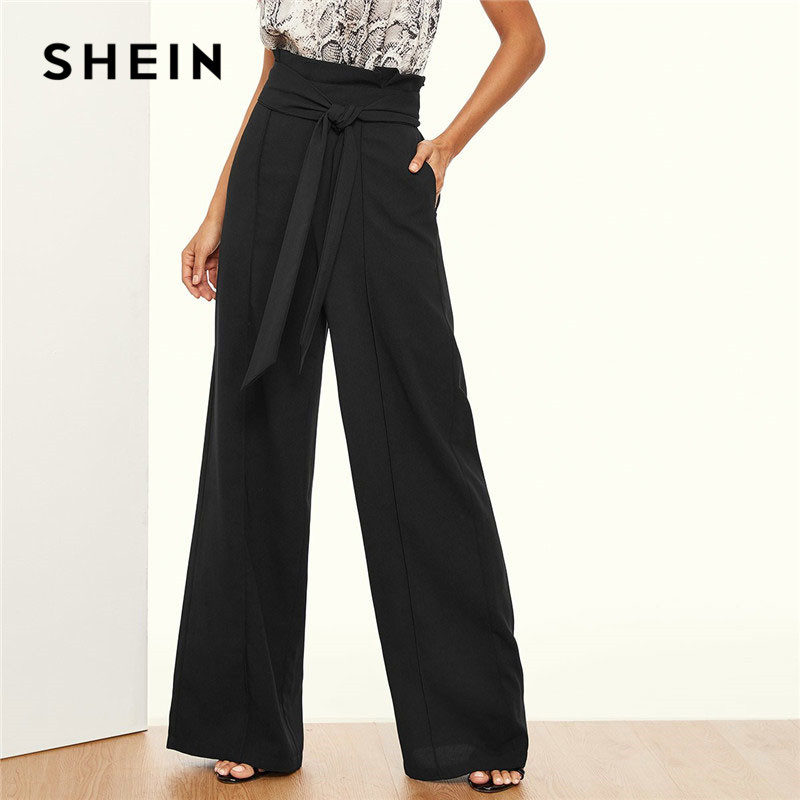 SHEIN Paper-Bag Waist Belted   Wide     Leg     Pants   Women Elegant OL Work 2019 Spring Loose Solid High Waist Workwear Trousers