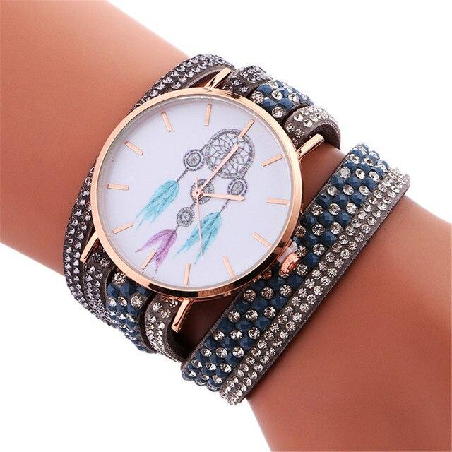 Women Fashion Dream Catcher Pattern Vintage Quartz Watch Winding Leather Band Br