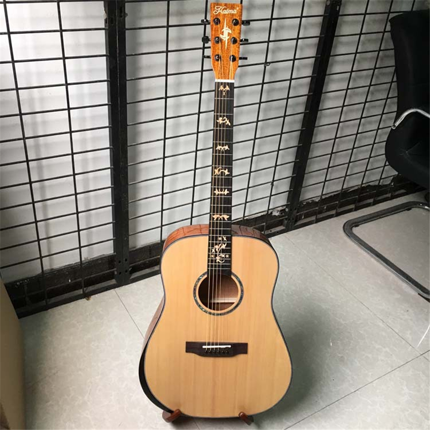 Free Shipping Solid Spruce Top Quality  Good Sound 41 inch Cutaway  Girls Travel acoustic Guitar DS-202Q free shipping top quality solid spruce top j 185ec acoustic guitar natural wooden acoustic guitar